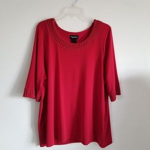Maggie Barnes red blouse size 0X -14/16